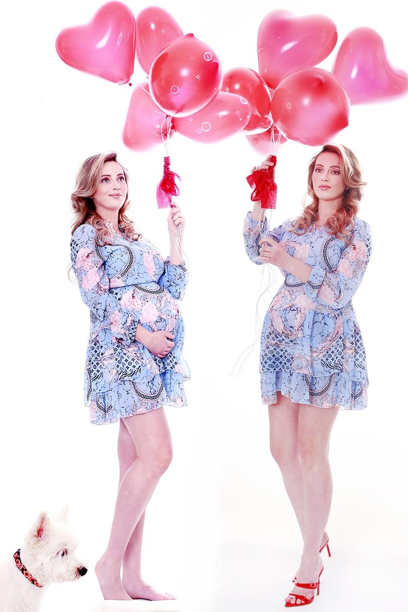 dziewczyna w ciąży z balonami